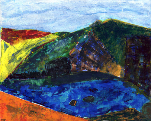 Acrylic painting on paper of Baia di Puolo near Sorrento, Italy