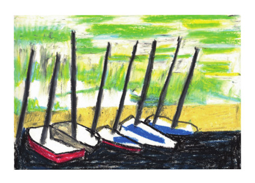 Oil pastel sketch of boats on Brighton Beach