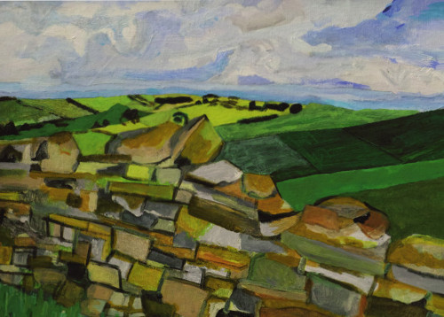Acrylic painting of a view from Hadrian's Wall in Northumberland.