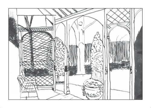 A drawing using indian ink of the garden at Keats House in Hampstead, part of the Drawing my way round London series