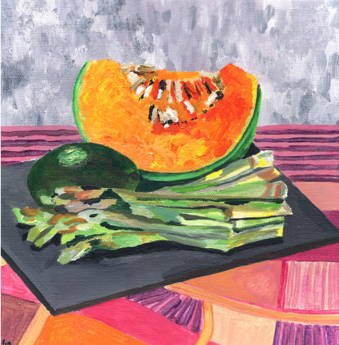 A still life painting of pumpkin, asparagus and an avocado