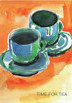 Watercolour sketch of two cups and saucers