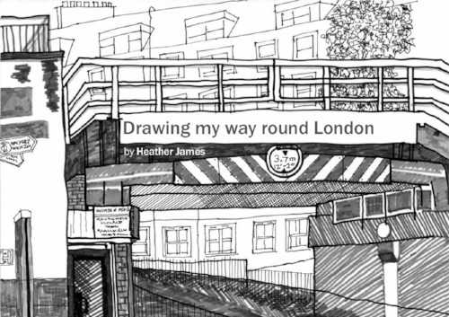 Black and white drawing of the cover for Drawing my way round London ebook