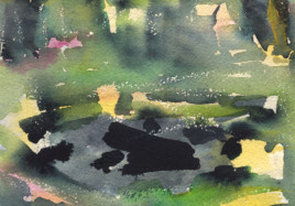 Abstract watercolour painting on paper of a spent campfire at Squires Hill, Tilford, Surrey