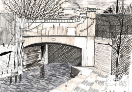 Water soluble pencil drawing of the middle lock of the Hertford Union canal