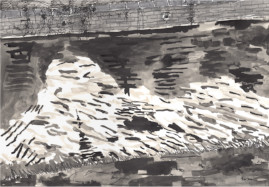Brush and ink drawing of water in the Hertford Union canal