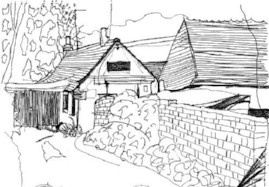 Biro drawing of house in Tilford, Surrey UK